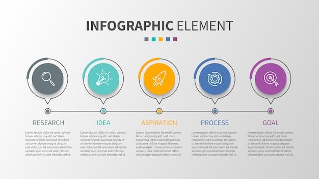 Infografik-vorlage mit symbolen und 5 optionen oder schritte Premium Vektoren