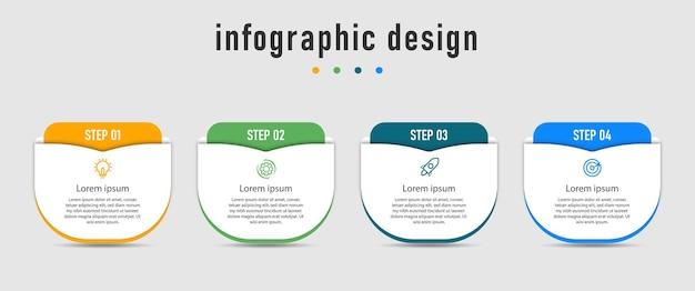Infografik-vorlage mit vier schritten Premium Vektoren