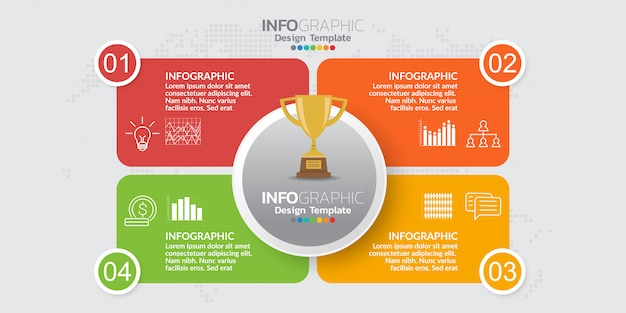 Infografik-vorlage mit vier teilen und symbolen. Premium Vektoren