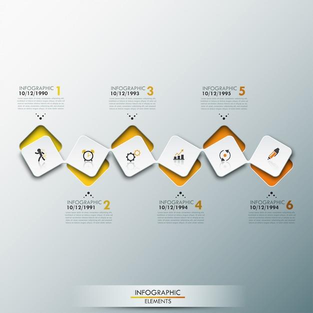 Infografik-vorlage mit zeitleiste und 6 verbundenen quadratischen elementen in gelber farbe Premium Vektoren