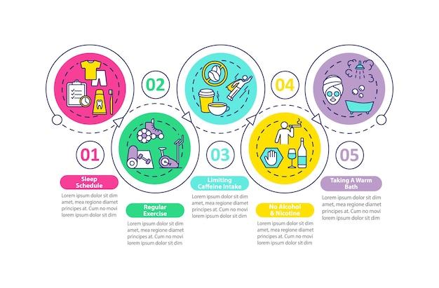 Infografik-vorlage zur schlafverbesserung. bessere träumtipps präsentationselemente. Premium Vektoren