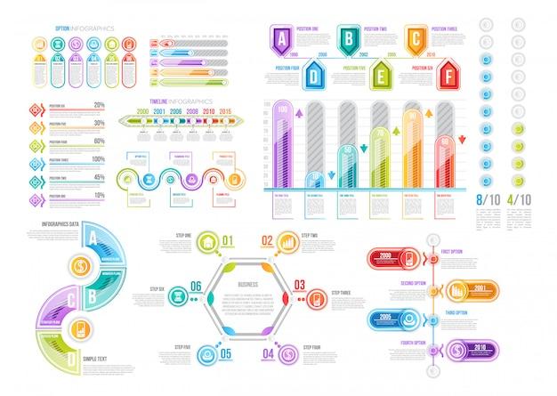 Infografik-vorlagen für die datenpräsentation Premium Vektoren