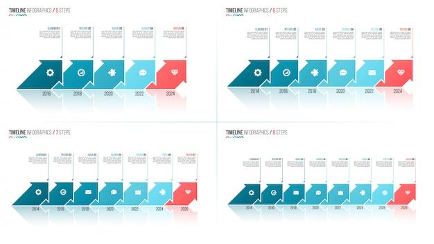 Infografik-vorlagen in form von pfeilen auf der zeitachse. 5 6 7 8 schritte, option Premium Vektoren