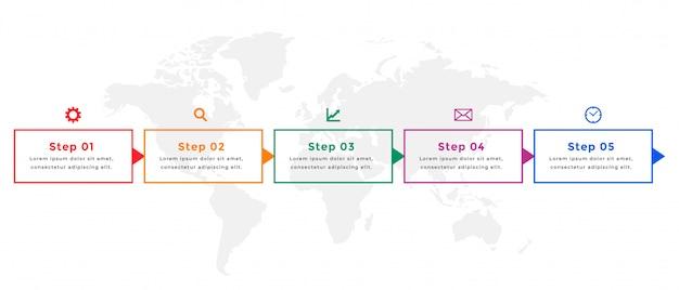 Infografik-vorlagendesign der geschäftszeitleiste in fünf schritten Kostenlosen Vektoren