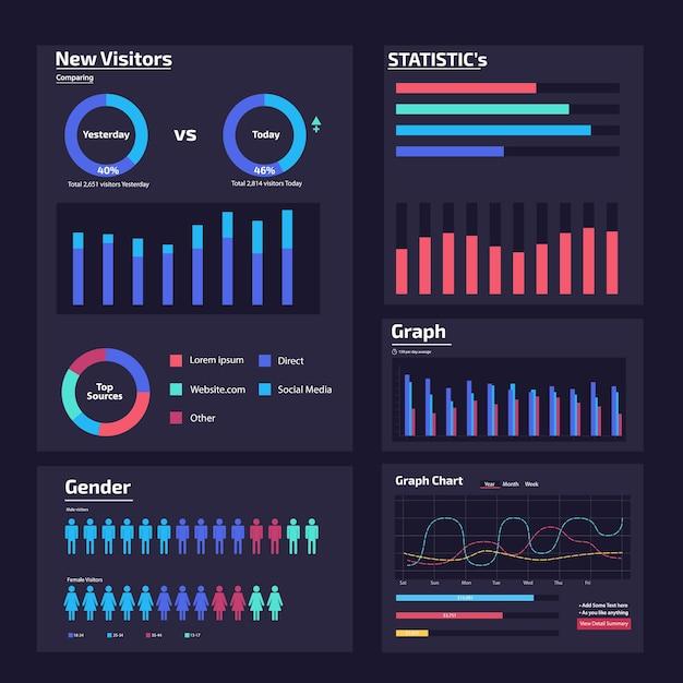 Infografik web-analyse-element-design Premium Vektoren