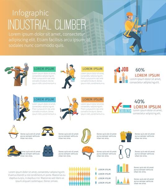 Infografik zu bergsteigerberufen im alpinismus und ausrüstung für höhenarbeiten Kostenlosen Vektoren