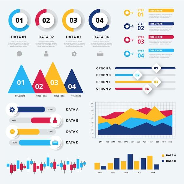 Infografik zur visualisierung von flachen entwurfssequenzdaten Kostenlosen Vektoren