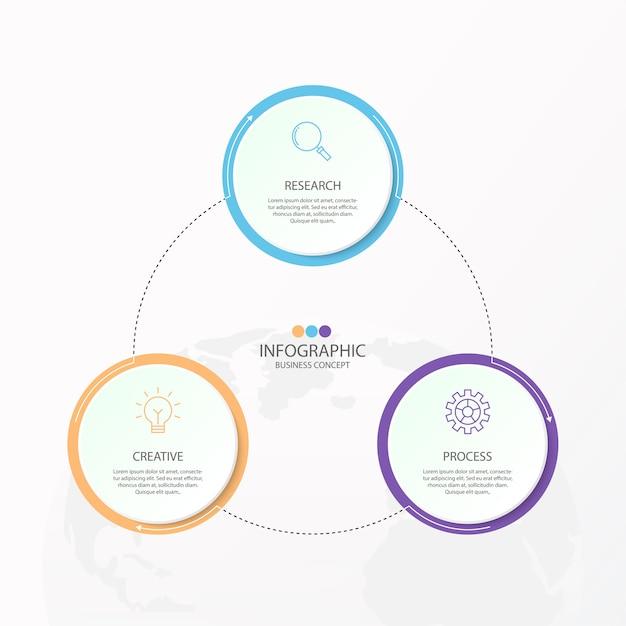 Infografiken 3 element von kreisen und grundfarben für das aktuelle geschäftskonzept. Premium Vektoren