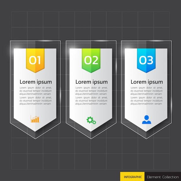 Infografiken 3-schritt-vorlage in glas oder glänzendem stil Premium Vektoren