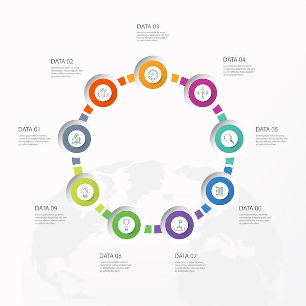 Infografiken 9 element von kreisen und grundfarben für das aktuelle geschäftskonzept. abstrakte elemente, optionen, teile oder prozesse. Premium Vektoren