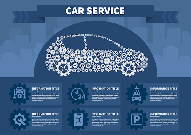 Infografiken autoservice vektor-illustration. Premium Vektoren
