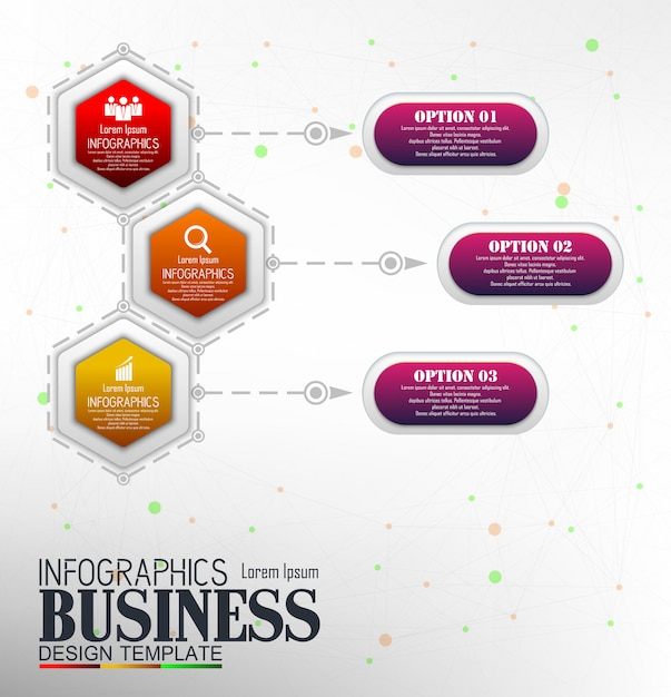 Infografiken business template konzept mit 3 optionen Premium Vektoren