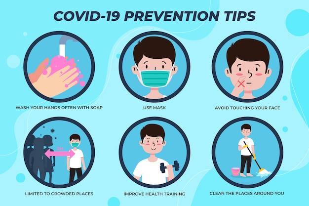 Infografiken der coronavirus-verhinderungsvorlage Kostenlosen Vektoren