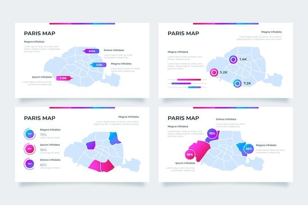 Infografiken der gradienten-paris-karte Kostenlosen Vektoren
