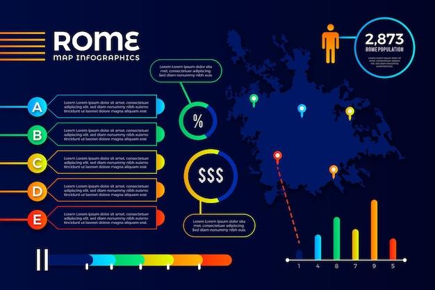 Infografiken der gradienten-rom-karte Kostenlosen Vektoren