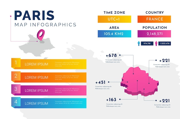 Infografiken der isometrischen pariser karte Kostenlosen Vektoren