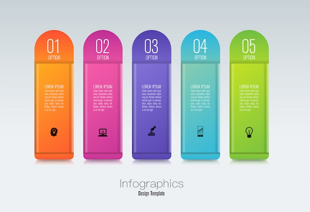 Infografiken design mit schritten oder optionen. Premium Vektoren