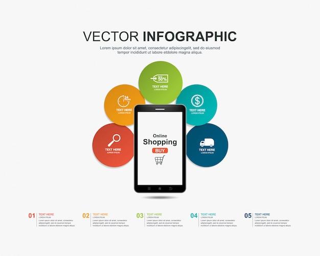 Infografiken einkaufen online-konzeptvorlage Premium Vektoren