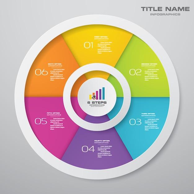 Infografiken-elemente mit 6 schritten. eps 10. Premium Vektoren
