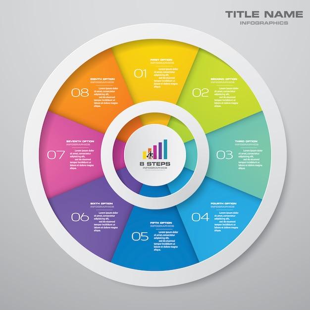 Infografiken-elemente mit 8 schritten. eps 10. Premium Vektoren