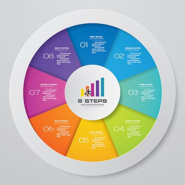 Infografiken-elemente mit 8 schritten. Premium Vektoren
