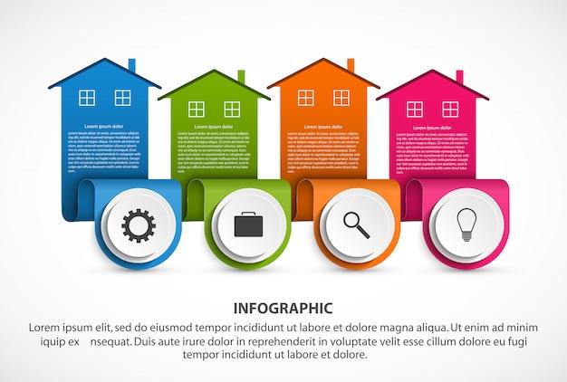 Infografiken elemente mit bunten häusern Premium Vektoren