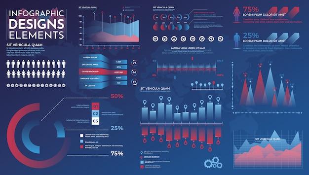 Infografiken elemente. moderne infographic vektorschablone mit statistikdiagrammen und finanzdiagrammen Premium Vektoren