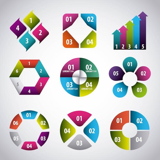 Infografiken elemente sammlung business-präsentation Premium Vektoren