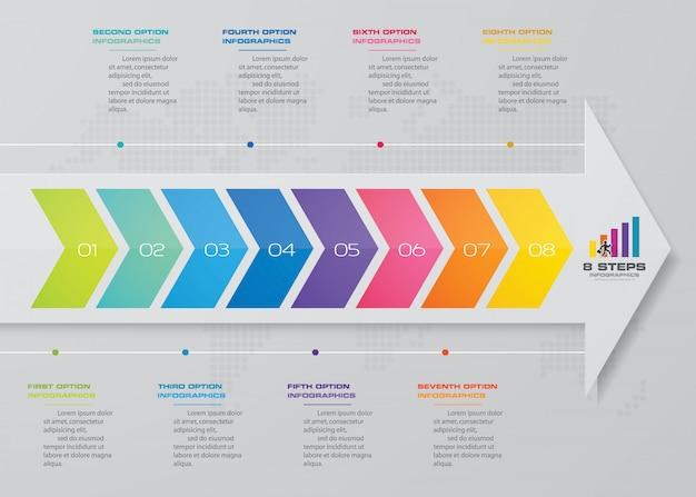Infografiken-elementvorlage mit 8 schritten Premium Vektoren