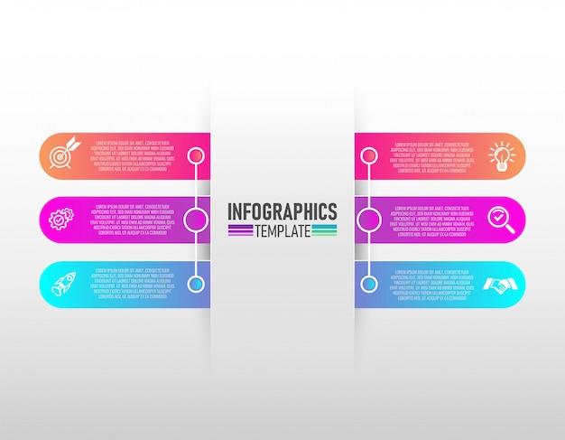 Infografiken entwerfen vektor und marketing-ikonen mit dem vektor mit 6 schritten. Premium Vektoren