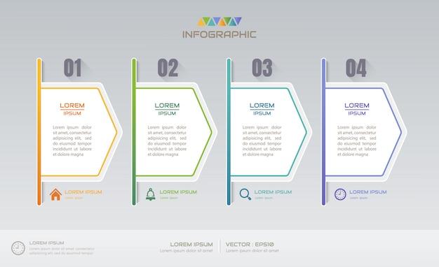 Infografiken entwurfsvorlage mit vier schritten Premium Vektoren