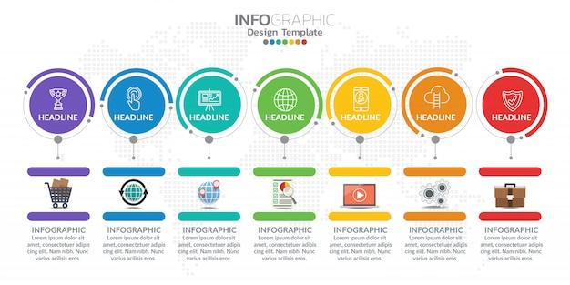 Infografiken für business-konzept mit symbolen und optionen Premium Vektoren