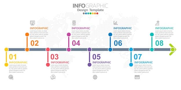 Infografiken für das geschäft mit symbolen und optionen oder schritten. Premium Vektoren