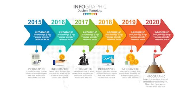 Infografiken für geschäftskonzept mit symbolen und optionen oder schritten. Premium Vektoren