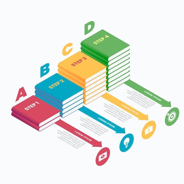 Infografiken für isometrische vorlagenbücher Kostenlosen Vektoren