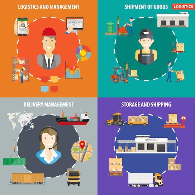 Infografiken für logistik oder versandverwaltung Premium Vektoren