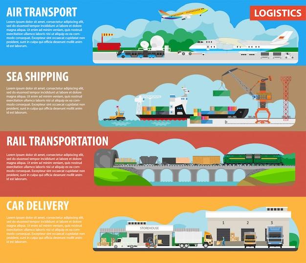 Infografiken für logistik und versandarten Premium Vektoren