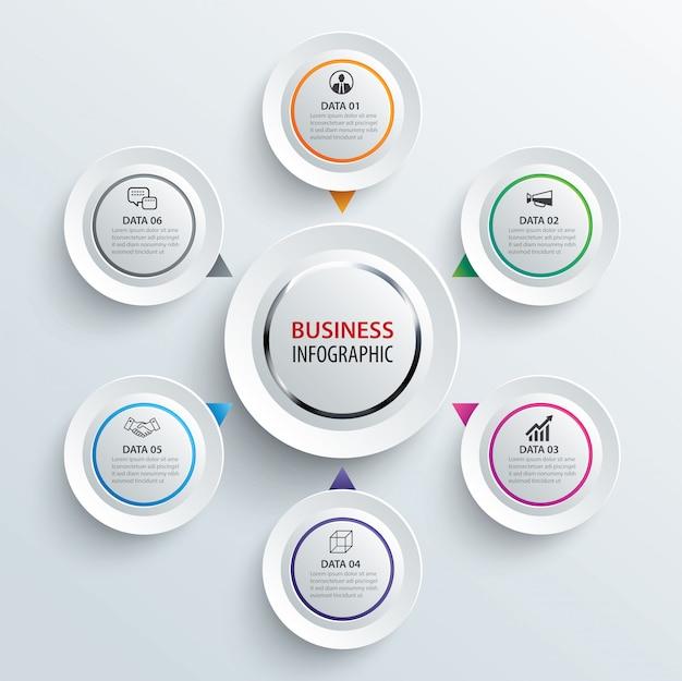 Infografiken kreis papier mit 6 datenvorlage. Premium Vektoren