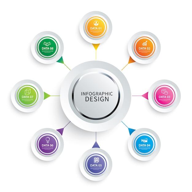 Infografiken kreis papier mit 8 datenvorlage. Premium Vektoren