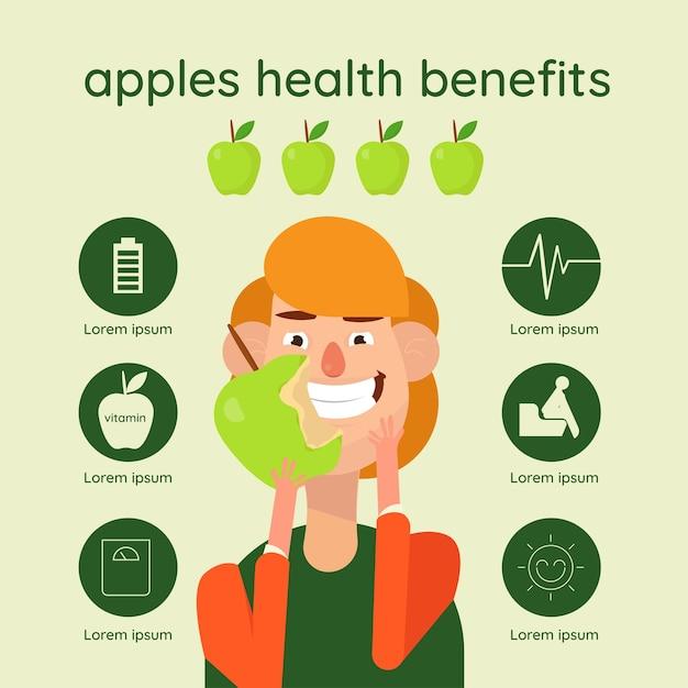 Infografiken mit äpfeln gesundheitsvorteile Premium Vektoren