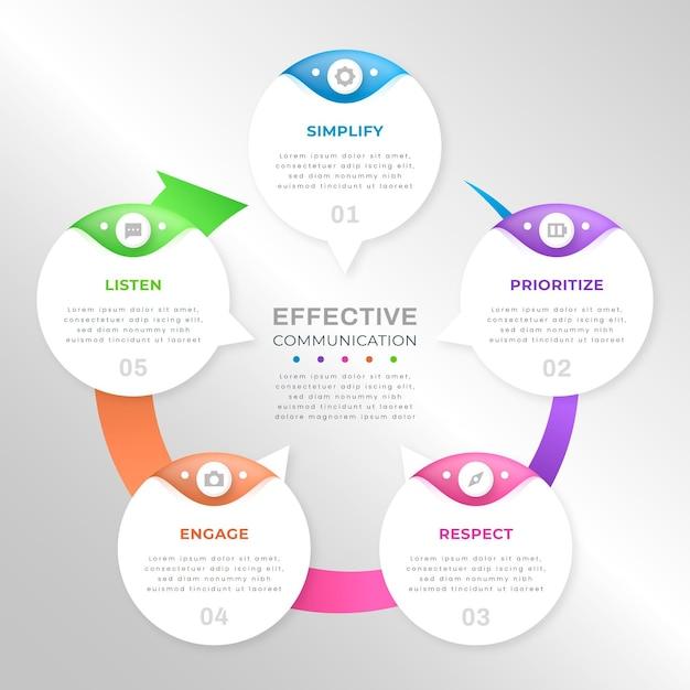 Infografiken mit farbverlaufsblasen Kostenlosen Vektoren