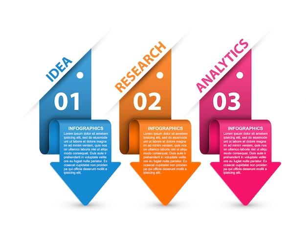 Infografiken mit pfeilen. infografiken für business-präsentationen oder informationsbanner. Premium Vektoren