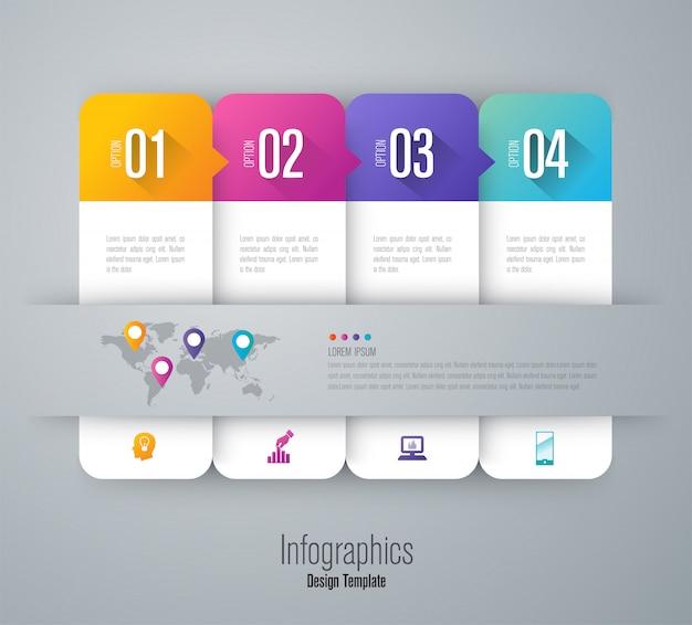 Infografiken mit schritten und optionen Premium Vektoren