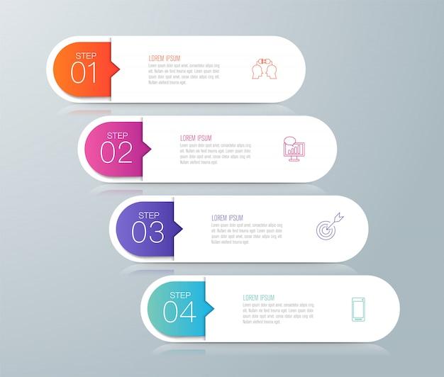 Infografiken mit schritten Premium Vektoren