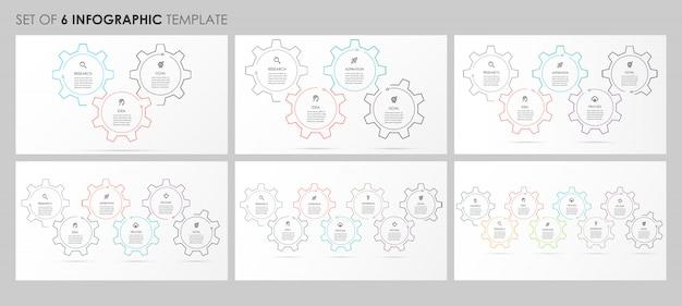 Infografiken mit symbolen und 3, 4, 5, 6, 7, 8 optionen oder schritten. unternehmenskonzept. Premium Vektoren
