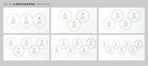 Infografiken mit symbolen und 3, 4, 5, 6, 7 optionen oder schritten. unternehmenskonzept. Premium Vektoren