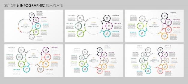 Infografiken mit symbolen und 5, 6, 7, 8, 9, 10 optionen oder schritten. unternehmenskonzept. Premium Vektoren