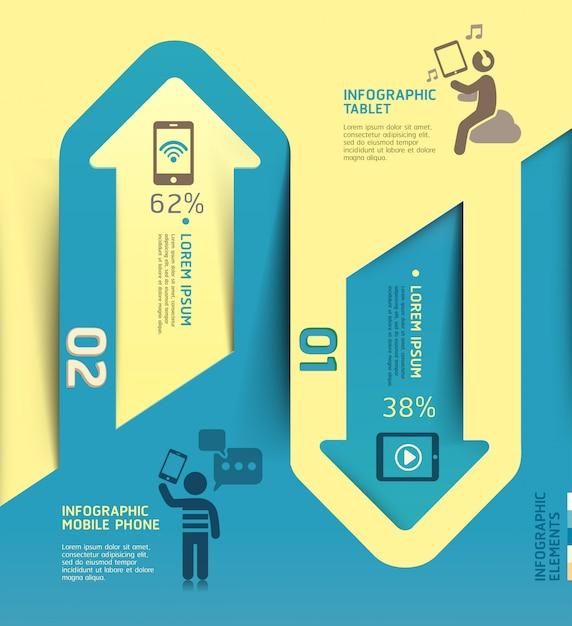 Infografiken pfeil kommunikationsvorlage technologie. Premium Vektoren