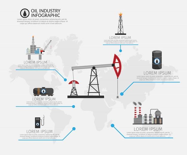 Infografiken-set für die verarbeitung und den transport der erdölindustrie Premium Vektoren