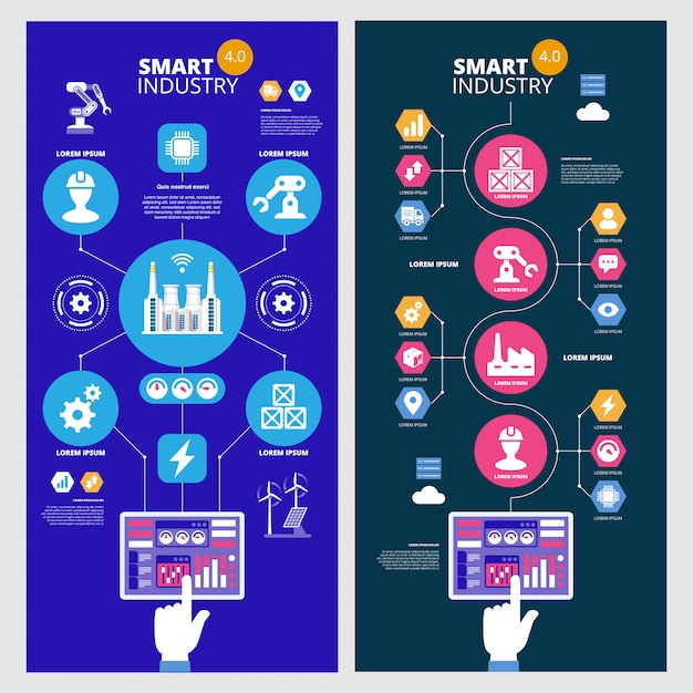 Infografiken smart industry 4.0. künstliche intelligenz. satz vektorbanner. Premium Vektoren